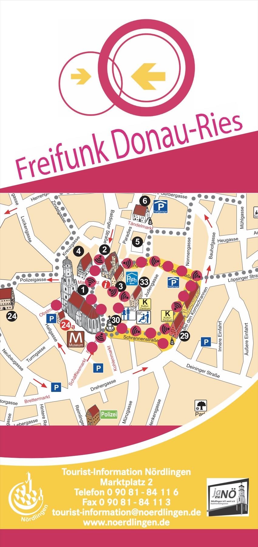Seite aus dem Flyer der Touristeninformation Nördlingen